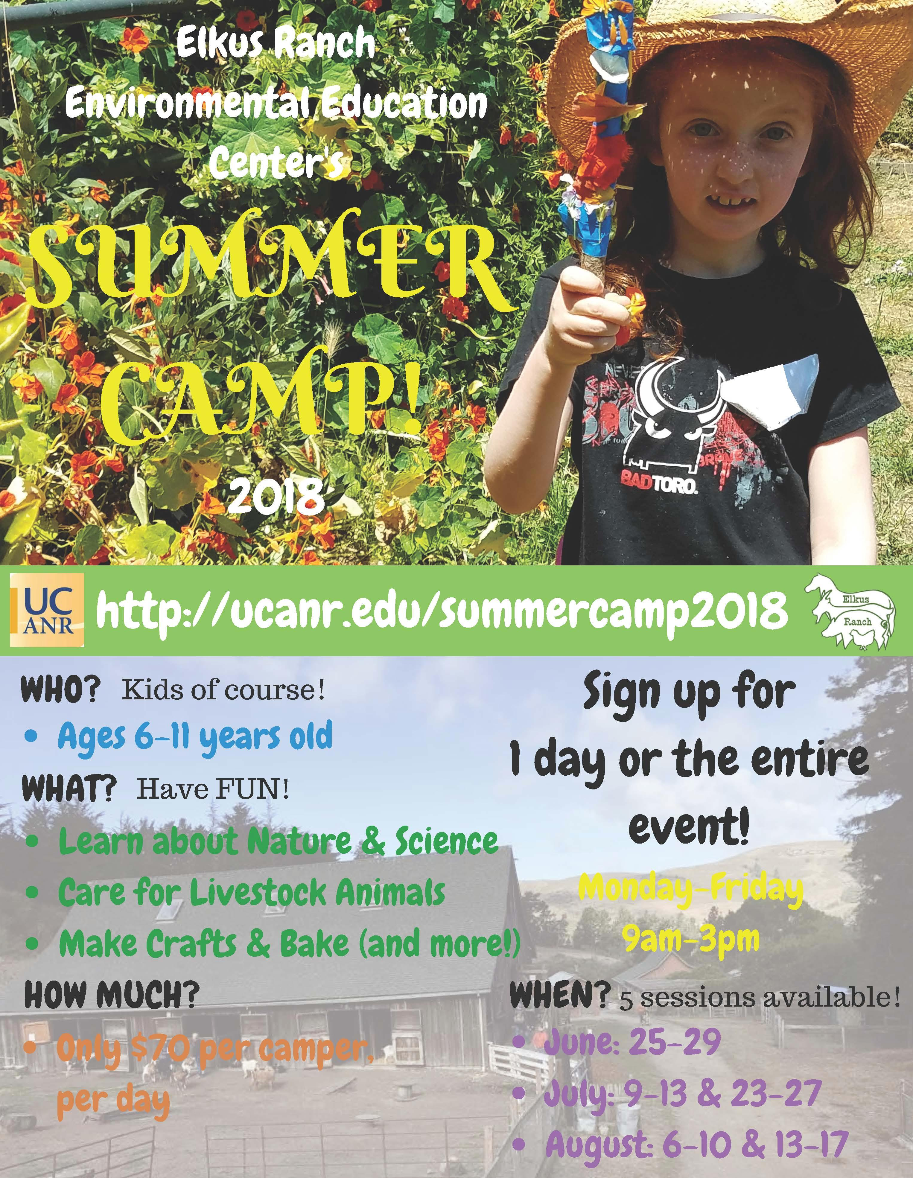 Elkus Ranch Environmental Education Center Summer Camp 2018! Young girl holds stick craft in the garden.